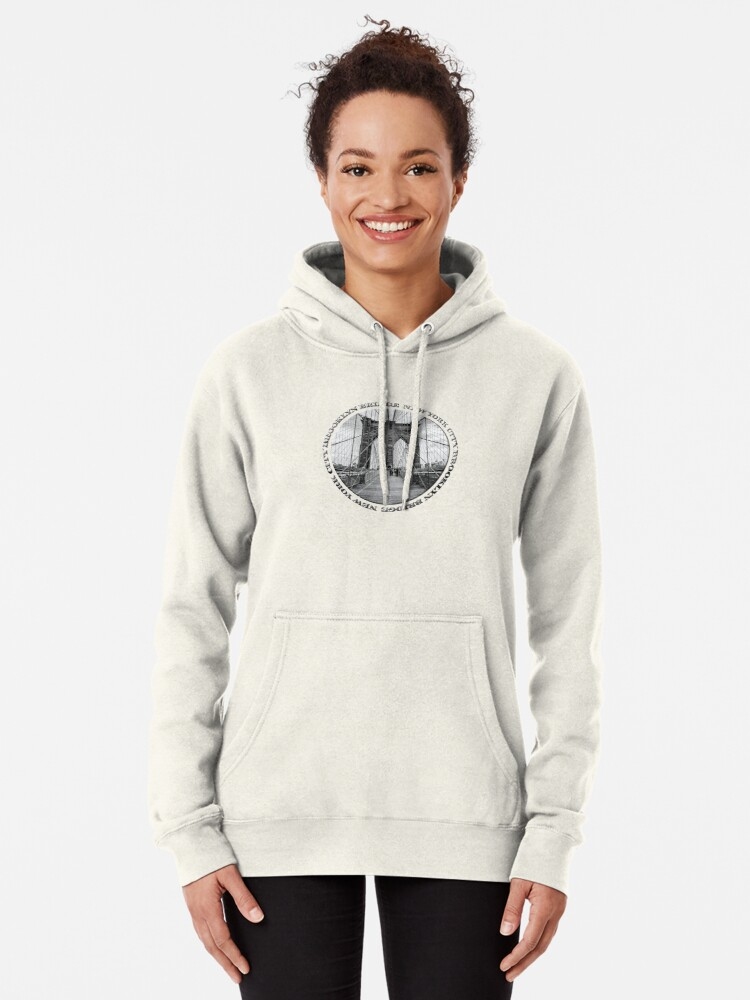 Alternate view of Brooklyn Bridge New York City (black & white badge style on white) Pullover Hoodie