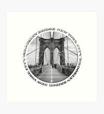 Brooklyn Bridge New York City (black & white badge style on white) Art Print