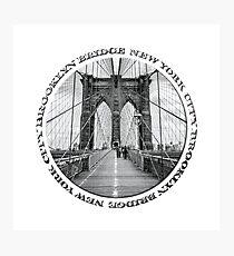 Brooklyn Bridge New York City (black & white badge style on white) Photographic Print