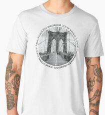 Brooklyn Bridge New York City (black & white badge emblem on white) Men's Premium T-Shirt