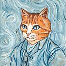 Cat Van Gogh Portrait by Ryan Conners