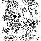 Skulls, Roses, Daggers Tattoo Flash by Ella Mobbs
