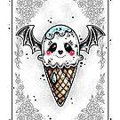 Ghost Bat Ice Scream Cone by Ella Mobbs