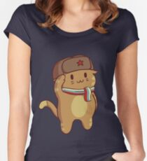 Komrade Kat Salute Fitted Scoop T-Shirt