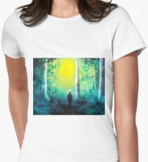 Spray Paint Art- Emerald Forrest Womens Fitted T-Shirt