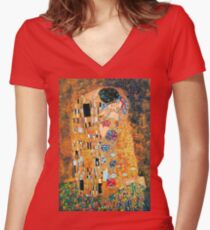 Gustav Klimt - The kiss  Women's Fitted V-Neck T-Shirt