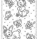 Bunnies and Butterflies Linework by Ella Mobbs