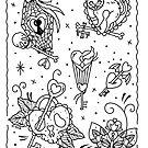 Halloween Heart and Key Locket Linework by Ella Mobbs