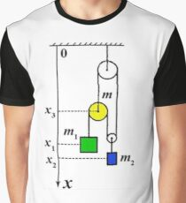 Physics Problem on motion of pulleys and masses connected by ropes under the influence of gravitation Graphic T-Shirt