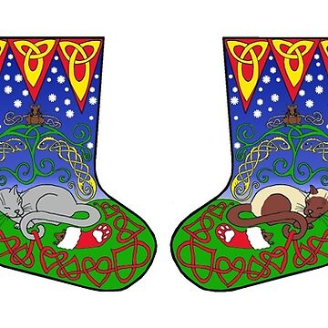 Celtic Cat Christmas Stockings by ingridthecrafty
