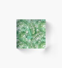Green tropical leaves II Acrylic Block