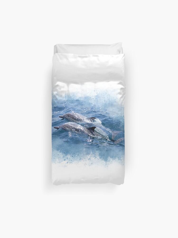 Funda Nordica Delfines.Acuarela Delfines Gemelos Delfines De Animales Del Espiritu Del Oceano Funda Nordica