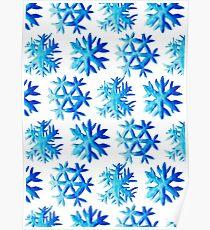 Blue Watercolor Snowflake Pattern Poster