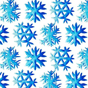 Blue Watercolor Snowflake Pattern by azzza