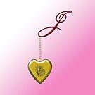 J Golden Heart Locket by Chere Lei