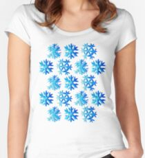 Blue Watercolor Snowflake Pattern Women's Fitted Scoop T-Shirt
