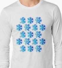 Blue Watercolor Snowflake Pattern Long Sleeve T-Shirt