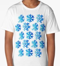 Blue Watercolor Snowflake Pattern Long T-Shirt