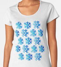 Blue Watercolor Snowflake Pattern Women's Premium T-Shirt