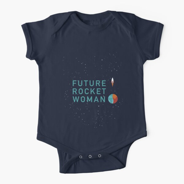 Future Rocket Woman - Kids Teal Text Short Sleeve Baby One-Piece