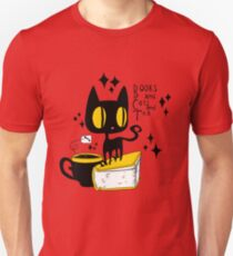 Books and Cats and Tea Slim Fit T-Shirt