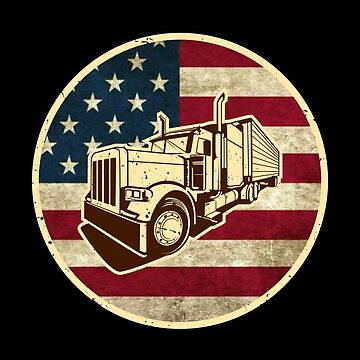 Truck Driver | Vintage Retro American Flag Trucker T-Shirt by JohnPhillips
