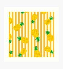 Ananas - Streifen Kunstdruck