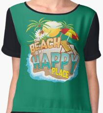 The Beach Is My Happy Place Art | Cool Nature Lover Gift Chiffon Top