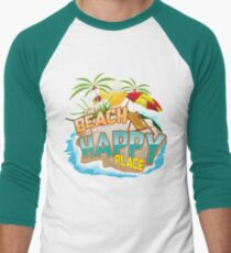 The Beach Is My Happy Place Art | Cool Nature Lover Gift Men's Baseball ¾ T-Shirt