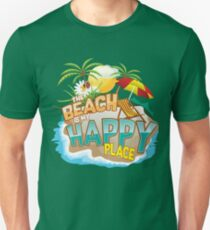 The Beach Is My Happy Place Art | Cool Nature Lover Gift Unisex T-Shirt