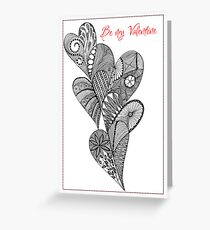 be my valentine 5 heart line drawing Greeting Card