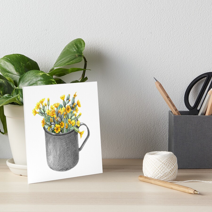 Mug with primulas Art Board Print