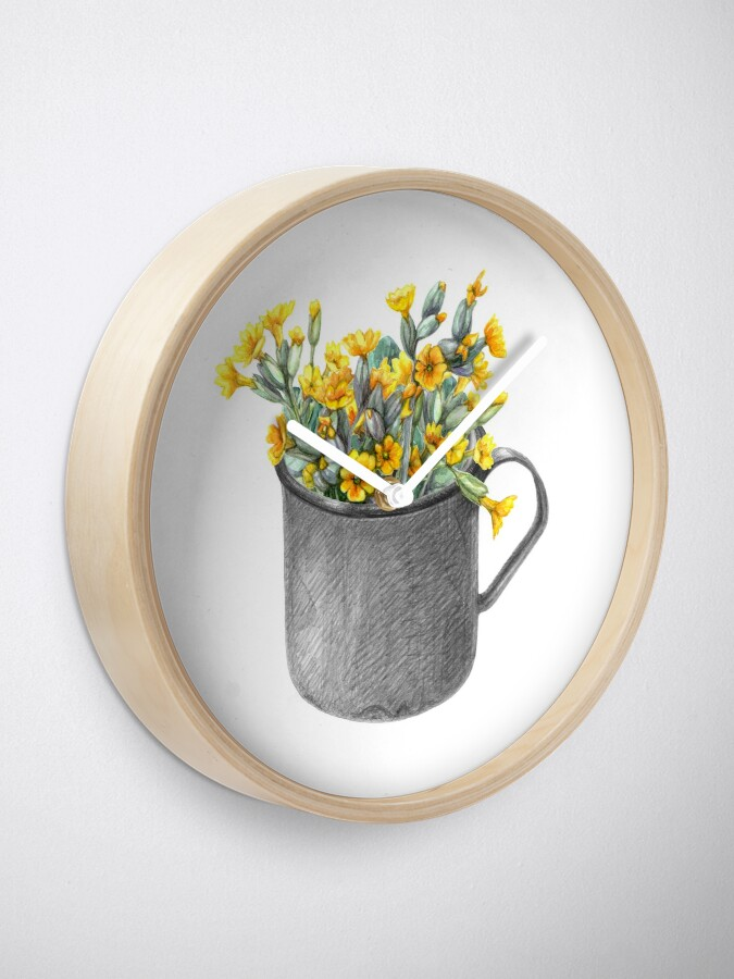 Alternate view of Mug with primulas Clock