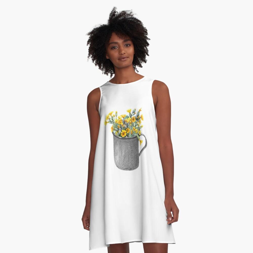 Mug with primulas A-Line Dress