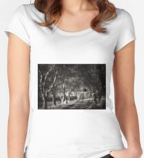 Path Of Trees And Shadows Women's Fitted Scoop T-Shirt