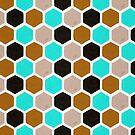 Hexagon-Bienenwaben-Muster - Brown-Türkis-Palette von Cat Coquillette