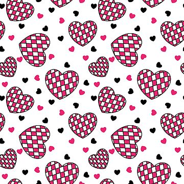 Checkered pink hearts pattern by mrhighsky