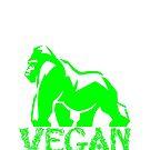 VEGAN 100% PLANT POWERED GORILLA by VIDDAtees