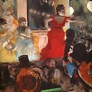 Edgar Degas French Impressionism Oil Painting Cafe Concert Woman in Red by jnniepce