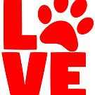 DOG: LOVE DOGS cool logo Paw Graphic Meme Design by VIDDAtees