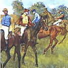 Edgar Degas French Impressionism Oil Painting Riding Horses by jnniepce