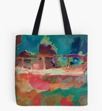 Abstract Laundry Boat in Blue, Green, Orange and Pink Tote Bag