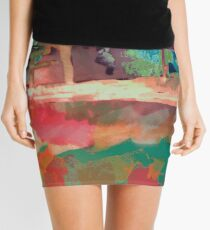 Abstract Laundry Boat in Blue, Green, Orange and Pink Mini Skirt