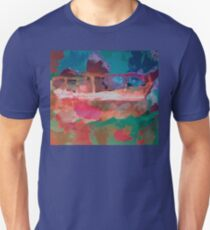 Abstract Laundry Boat in Blue, Green, Orange and Pink Unisex T-Shirt