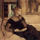 Edgar Degas French Impressionism Oil Painting Woman Sitting Black Dress by jnniepce