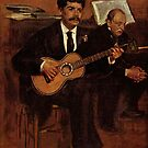 Edgar Degas French Impressionism Oil Painting Man Playing Guitar by jnniepce