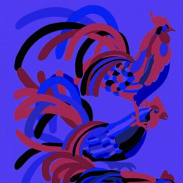 Rooster Abstract Art Blue by ntartworks
