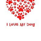 DOGS: I Love My Dog  Heart Paw Logo  Graphic Meme by VIDDAtees