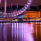 The London Eye at Night: London UK. by DonDavisUK