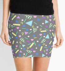 Retro Pastel Confetti in Gray Mini Skirt